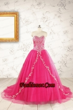 2015 Beautiful Hot Pink Quinceanera Dresses with Beading and Appliques FNAO5935-2FOR