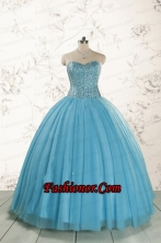 2015 Brand New Style Ball Gown Beading Quinceanera Dress in Baby Blue FNAO5899FOR