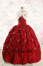 2015 Cheap Appliques Quinceanera Dresses in Wine Red  FNAO230AFOR