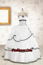 2015 Cheap Appliques and Ruffles White and Black Quinceanera Dresses FNAO291FOR