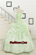 2015 Cheap Beading Strapless Yellow Green Quinceanera Gowns FNAO208FOR