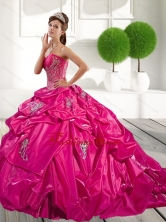 2015 Classical Appliques and Pick Ups Quinceanera Dress in Hot Pink QDDTB14002FOR