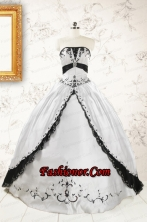 2015 Customize Embroidery White and Black Quinceanera Dresses FNAO102FOR