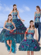 2015 Detachable Multi Color Quinceanera Gown with Hand Made Flower and Pick Ups QDZY321TZA2FOR