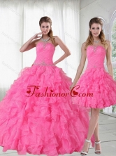 2015 Detachable Strapless Quinceanera Dress with Beading and Ruffles PDZY724TZFOR