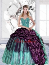 2015 Discount Sweetheart Quinceanera Gown with Pick Ups and Ruffles QDDTA29002FOR