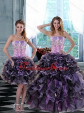 2015 Elegant Appliques and Ruffles Quinceanera Dresses in Multi Color XFNAO5744TZFOR