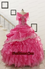 2015 Elegant Appliques and Ruffles Quinceanera Gowns in Hot Pink FNAO068AFOR