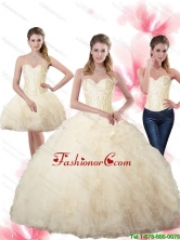 2015 Elegant Beaded Sweetheart Champagne Quinceanera Dresses with Ruffles SJQDDT66001FOR