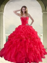 2015 Elegant Red Strapless Quinceanera Dress with Ruffles and Beading QDZY034-2TZFXFOR