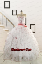 2015 Elegant Sweetheart Quinceanera Dresses with Appliques and Belt FNAO172FOR