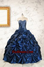 2015 Exclusive Appliques Navy Blue Quinceanera Dresses FNAO883FOR