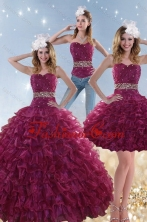 2015 Exquisite Burgundy Sweet 15 Dresses with Beading and Ruffles XFNAO049TZA1FOR