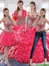 2015 Fall Luxurious Beaded Ball Gown Quinceanera Dress with Hand Made Flowers SJQDDT51001FOR