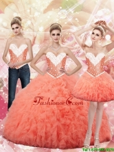 2015 Fall New Style Sweetheart Watermelon Quinceanera Dresses with Beading SJQDDT89001FOR