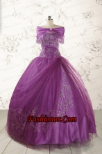 2015 Formal Sweetheart Appliques Purple Quinceanera Dresses  FNAO296AFOR