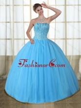 2015 Gorgeous Baby Blue Strapless Quinceanera Dress with Beading PDZY690TZFXFOR