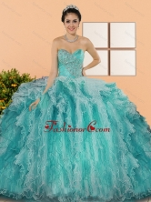 2015 Gorgeous Sweetheart Sweet 15 Dresses with Appliques and Ruffles QDDTC43002-1FOR