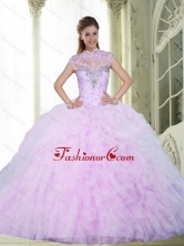 2015 Inexpensive Ball Gown Quinceanera Dresses with Beading and Ruffles SJQDDT2002FOR