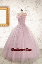 2015 Light Pink Appliques Strapless Sweet 16 Dresses with Wrap FNAO896AFOR
