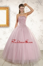 2015 Light Pink Strapless Elegant Sweet 16 Dresses with Appliques XFNAO896FOR
