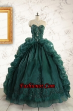 2015 Luxurious Dark Green Sweet 16 Dresses with Beading FNAO5750-1FOR