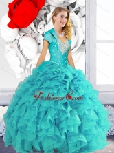 2015 Luxurious Sweetheart Quinceanera Dresses with Beading and Ruffles QDDTA56002FOR