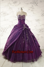 2015 Modern Purple Sweetheart Appliques Quinceanera Dresses FNAO183FOR