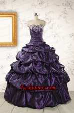 2015 Modern Sweetheart Purple Quinceanera Dresses with Appliques FNAO126FOR