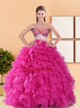 2015 Modest Sweetheart Quinceanera Dresses with Beading and Ruffles QDDTA50002-1FOR