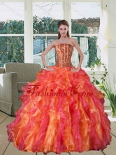 2015 Multi Color Strapless Quince Dress with Beading and Ruffles QDZY251TZFXFOR