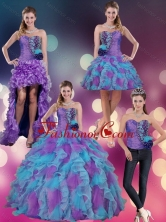 2015 Multi Color Strapless Quinceanera Dress with Beading and Ruffles QDZY453TZA2FOR