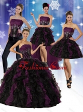 2015 Multi Color Strapless Quinceanera Dress with Ruffles and Embroidery  QDZY027TZA2FOR