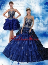 2015 Navy Blue Sweetheart Quinceanera Dress with Ruffles and Embroidery QDZY319TZFOR
