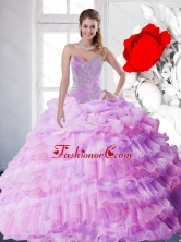 2015 New Style Lilac Quinceanera Gown with Beading and Ruffled Layers QDDTC1002FOR