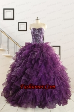 2015 New Style Purple Quinceanera Dresses with Beading and Ruffles FNAO698FOR