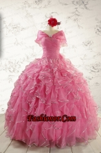 2015 New Style Rose Pink Quinceanera Dresses with  Beading FNAO744AFOR