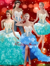 2015 New Style Sweetheart Quinceanera Dresses with Beading and Ruffles SJQDDT39001FOR