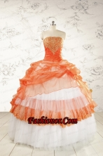 2015 Perfect Strapless Quinceanera Dresses with BeadingFNAO564FOR
