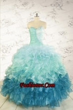 2015 Prefect Blue Quinceanera Dresses with Beading and Ruffles FNAO5640FOR
