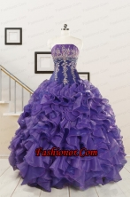 2015 Prefect Purple Sweet 15 Dresses with Embroidery and Ruffles FNAO6017FOR