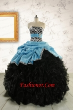 2015 Prefect Ruffles White Quinceanera Dresses with Zebra  FNAO435FOR