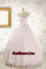 2015 Pretty Beading Light Pink Quinceanera Dresses FNAO800FOR