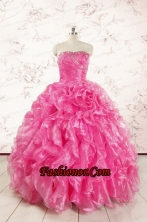 2015 Pretty Hot Pink Quinceanera Dresses with Appliques and Ruffles FNAO5822FOR