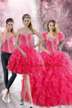 2015 Pretty Hot Pink Sweetheart Sweet 15 Dresses with Beading and Ruffles XFNAO885ATZA1FOR