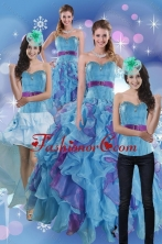 2015 Pretty Multi Color Dresses for Quince with Ruffles and Beading XFNAO783TZA1FOR