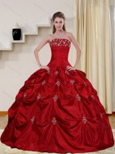 2015 Pretty Strapless Quinceanera Dress with Embroidery and Pick Ups QDZY230TZFXFOR