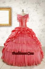 2015 Puffy Appliques Watermelon Quinceanera Dresses with Strapless FNAO147AFOR
