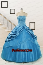 2015 Spring Fashionable Appliques Teal Quinceanera Dresses  FNAO164FOR