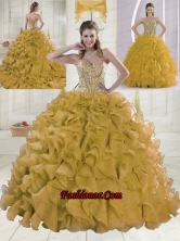 2015 Spring Sweetheart Brush Train Beading Gold Quinceanera Dress XLFY091906B-17FOR